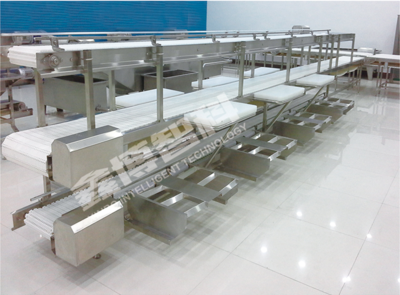三层塑料网带鱼类加工线Fish processing line mesh belt with three layers plastic